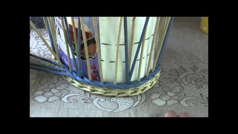 Плетём корзину из газетных трубочек узором