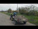 Самодельный мини-трактор, перевозка песка