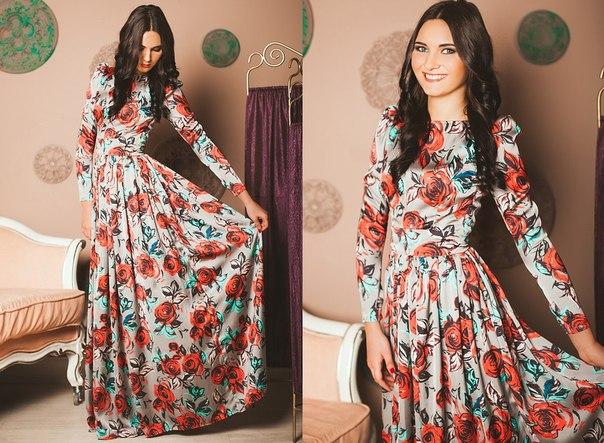 Длинное платье в пол с длинным рукавом своими руками
