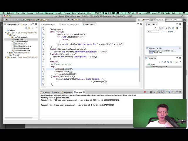 Intro to Java. Unit 10. Stock quotes with URL, Sockets, and RMI (in Russian)