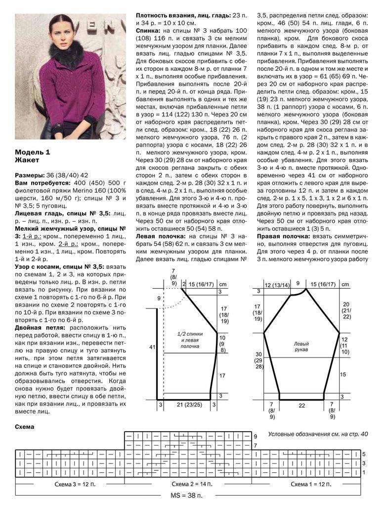 Модели реглан спицы схема