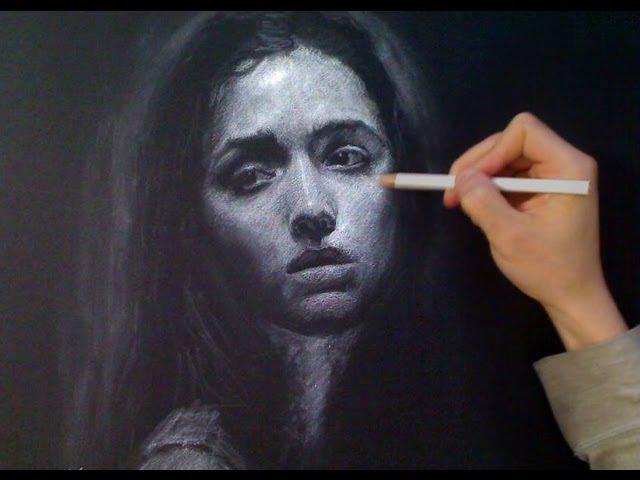 White Charcoal Portrait - Melancholy mood - art video Art Drawing Video