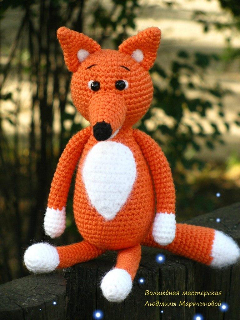 Вязаные игрушки крючком лисичка