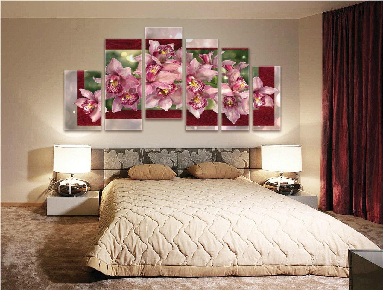 Модульные картины в спальне фото