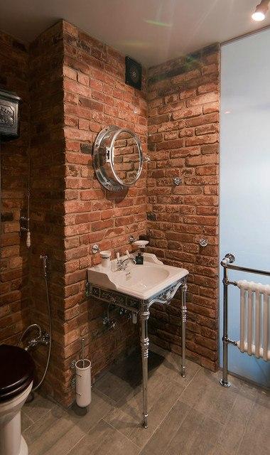 Лофт 36 м со стеклянной ванной комнатой в Москве.