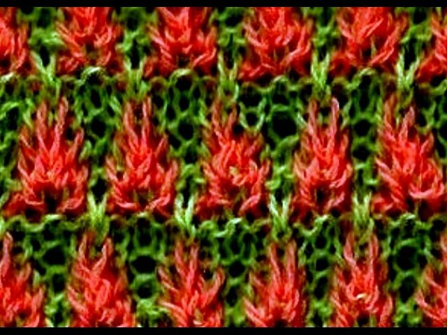 Como Tejer FLORES DE FUEGO (1/2) - Fire Flowers - 2 agujas (267)