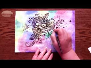Быстрое Рисование | Цветочный Зендудл | Тушь, Перо, Акварель