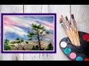 Как нарисовать небо и деревья акварелью! Dari_Art