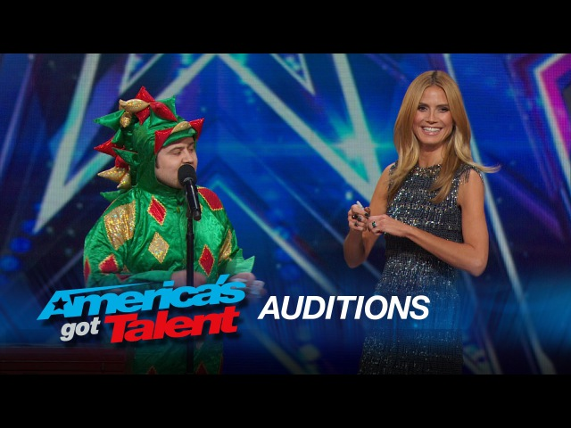 Piff the Magic Dragon Heidi Klum Helps Comedic Magician in Dragon Suit - Americas Got Talent 2015
