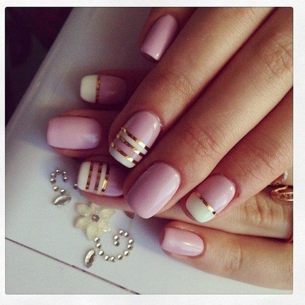 Дизайн ногтей с серебряными полосками