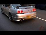 Nissan Skyline - HUGE FLAMES Police let him off!   Ниссан, Скайлайн, автомобиль, машина, тачка, спорткар