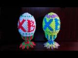 Модульное оригами пасхальное яйцо ХВ (Христос Воскрес) схема сборки