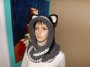 Crochet cowl, infinity scarf with hood or scoodie with ears - by Ruby Stedman