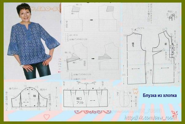 Выкройки блузок для полных женщин своими руками 44