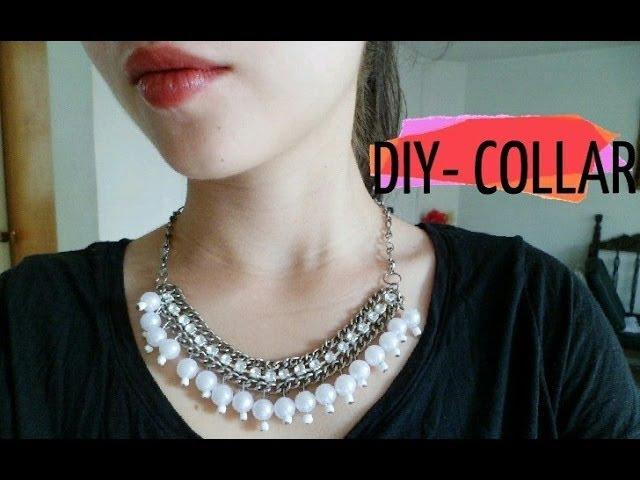 DIY- Collar cadena con perlas y cuentas de cristal /Necklace chain