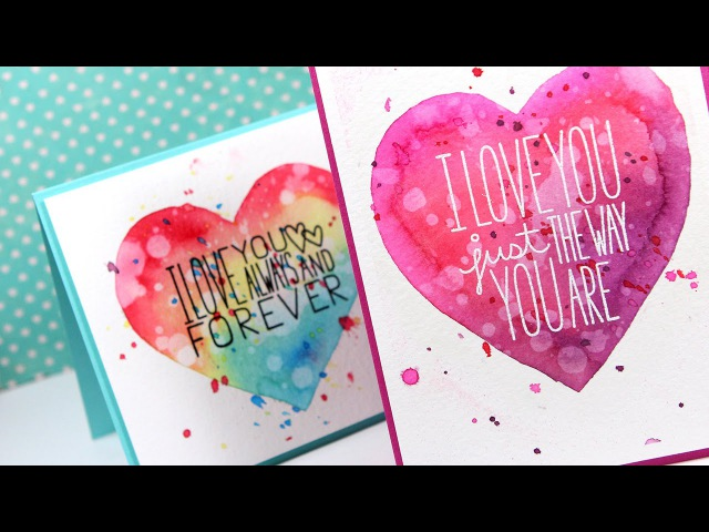 Masked Watercolor Heart Cards Make a Card Monday 270