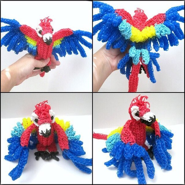 Как плести попугая на рогатке из резинок