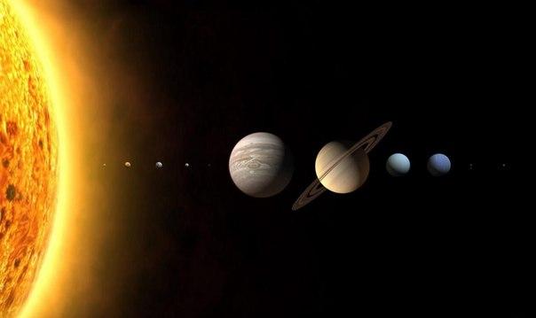 Планеты солнечной системы в одном ряду