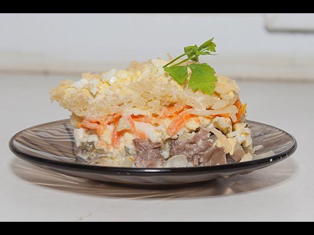Слоёный Салат «Мельник» кулинарный видео рецепт