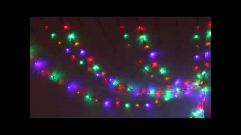 Серпантин Гирлянда электрическая LED Занавес-Волна 480 Мульти, 3х2м проз.пров к