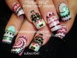 10 Nail Art Tutorials | Tribal Diva Nails | DIY Long Nail Art Design