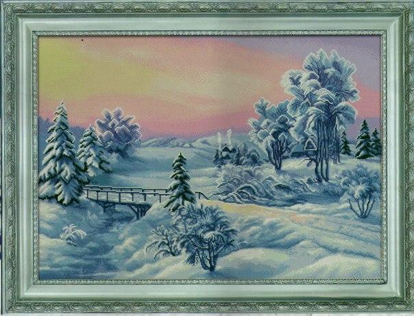 Вышивка крестиком. Зима. (9 фото)