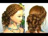 Прическа с плетением на длинные волосы. Свадебная, на выпускной