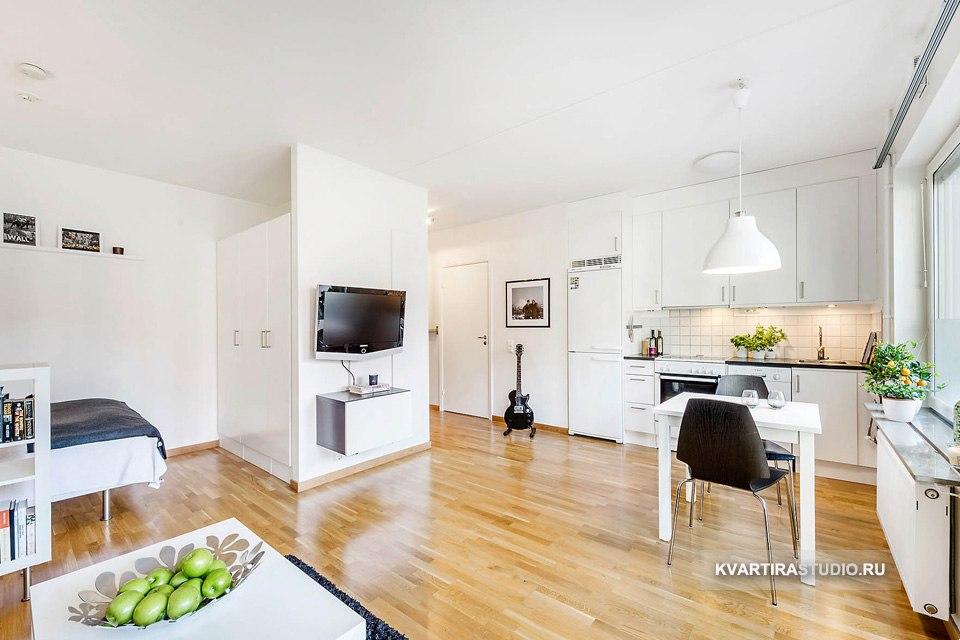 Интерьер студии 34 м с зонированием мебелью в Стокгольме / Швеция - http://kvartirastudio.