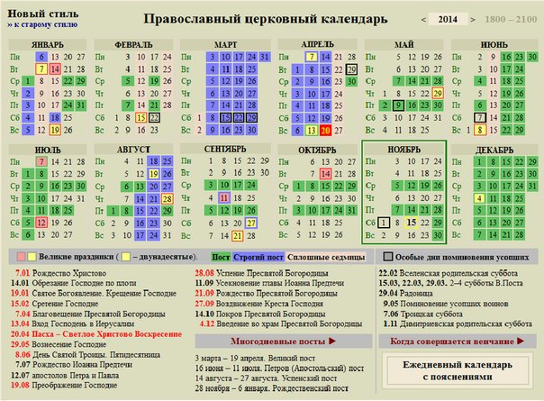 Православный календарь на 2015 год
