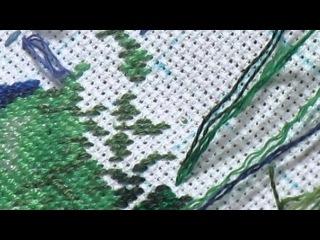 Процесс вышивки полукрестом - петитом + закрепление нитки в конце