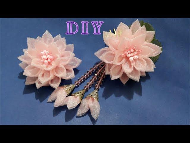 D.I.Y. Elegant Organza Kanzashi Flower with Dangles | MyInDulzens