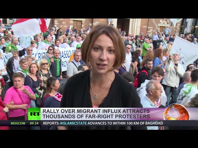 Stop Invasion! Thousands protest at anti-immigration rally in Italy