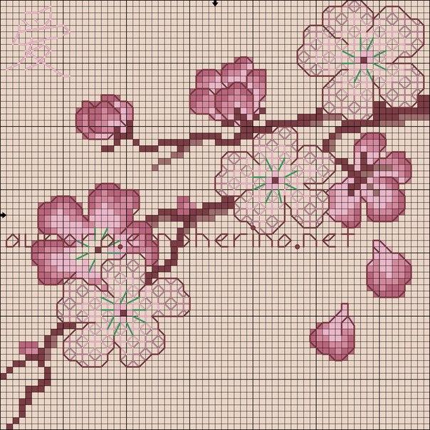 вышивка крестом сакура схема