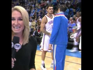 Nick Collison & Steven Adams intense hand shake pre game