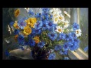 Цветы летние Васильки Колокольчики Ромашки Летний вечер HD