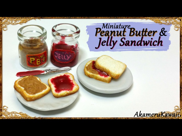 Cute, Miniature Peanut Butter Jelly Sandwiches - Polymer Clay Tutorial