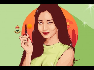 Vector Vexel Portrait Photoshop Tutorial - Yura Girl's Day (Time Lapse)
