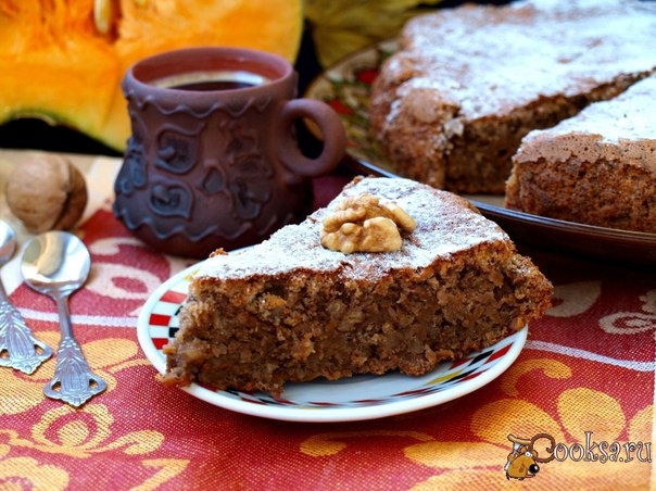 Тыквенный пирог с грецкими орехами Сегодня к чаю испекла очень вкусный тыквенный пирог с грецкими орехами. Пирог получается очень нежный и воздушный, настоящее наслаждение. От дегустации получили с дочкой огромное удовольствие.