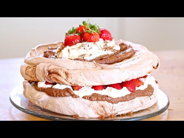 Chocolate pavlova with strawberries and cream