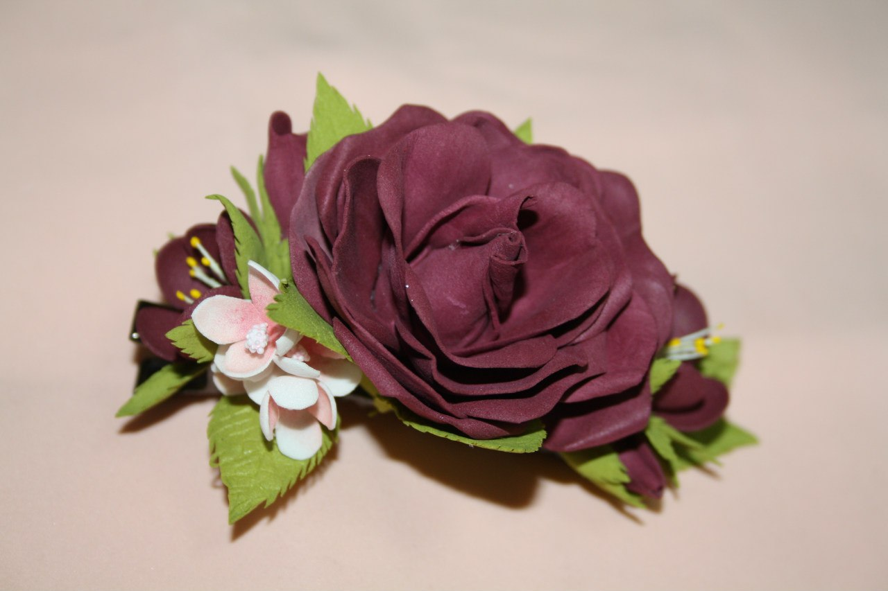 Фоамиран цветы заколки фото