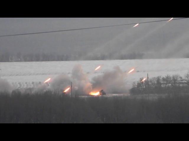 Донецк работают ГРАДы ДНР / Donetsk firing pro-Russians rebels Grad