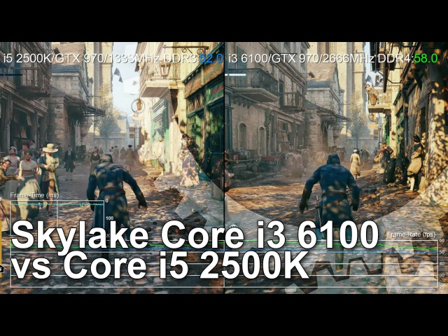 Core i3 6100 vs Core i5 2500K Gameplay Comparison