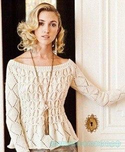 Пуловер спицами для женщин (6 фото) - картинка