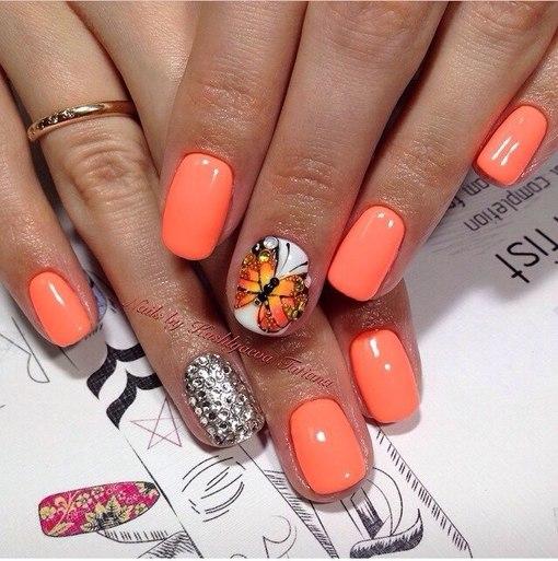 Дизайн гель лак бабочка