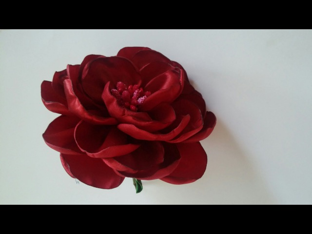Мастер класс: пышная роза из лент/How to make a rose out of satin ribbons/handmade fabric flowers