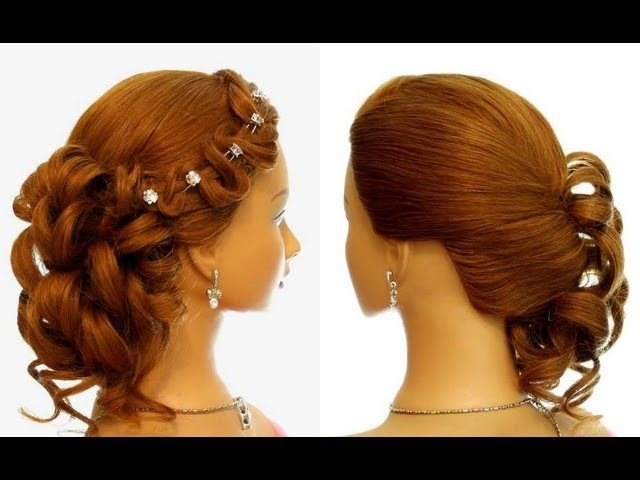 Romantic prom wedding hairstyle for long hair. Updo hairstyles.