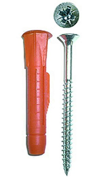 Дюбель универсальный, полипропиленовый, с бортиком и оцинкованным шурупом, в п/э пакете тип 6, 12х71мм, 6шт   ЗУБР
