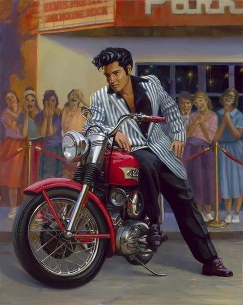 элвис плесли на мотоцикле