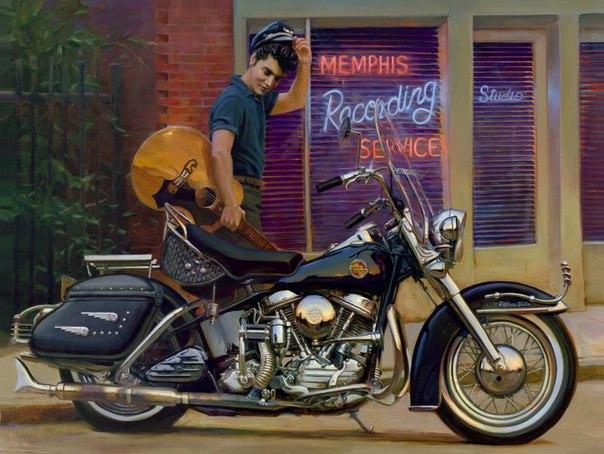 пресли с мотоциклом