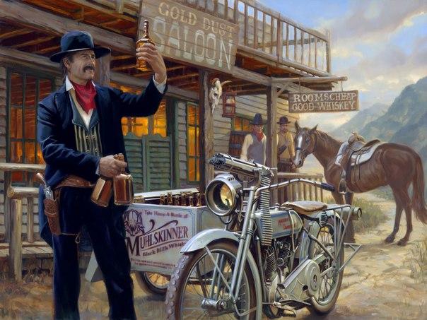 ковбой и мотоцикл